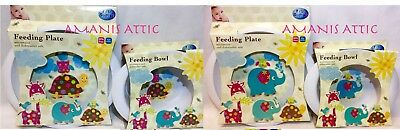 Patchwork Baby Feeding Bowl and Plate Micro/Dishwasher Safe BPA Free