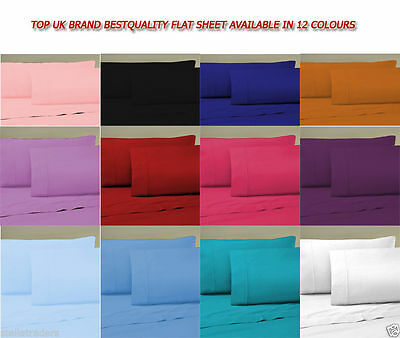 Plain Dyed Flat Bed Sheet, Single Double King Size Or PillowCase All Uk Bed Size