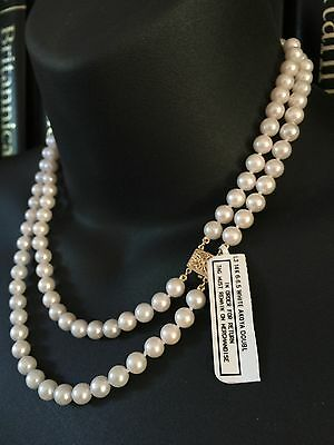 Vintage 14Ct Gold Classic Double Strand Genuine 6.5Mm Akoya Pearl Necklace - 615
