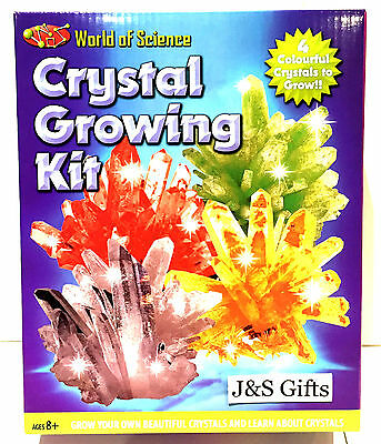 New World Of Science Crystal Growing Kit Educational Boys + Girls Ages 8+