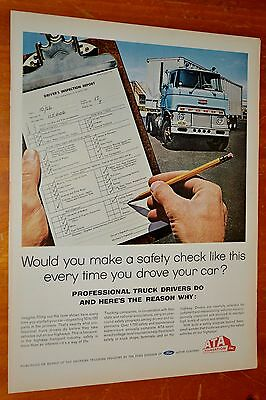 Ford H Series Cabover Truck For 1965 Safety Inspection Ad - American Trucking