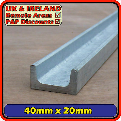 "Galvanised Mild Steel Channel (iron C U section ) 40x20mm (1.5"") 40mm 