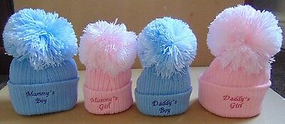baby hat embroidered- with large pom pom