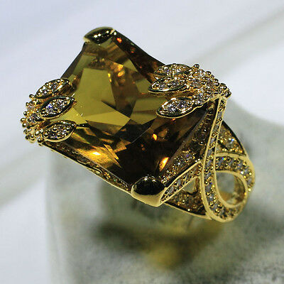 18K Yellow Gold Filled Green Crystal CZ Women Fashion Jewelry Ring R3844-2 S5-10
