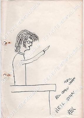 Late 1950's JOHN LENNON rare self portrait sketch as Adolf Hitler! The Beatles