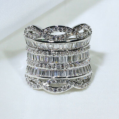 18K White Gold Filled AAA CZ Women Fashion Jewelry Cocktail Ring R3938 Size 5-10