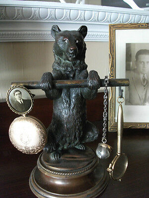 Antique Figural Bronze Bear Inkwell c. late 19th century