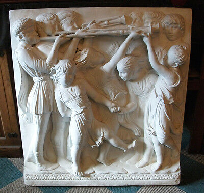 Very Large Garden Plaque Children Dancing and Boys Playing Horns in Relief