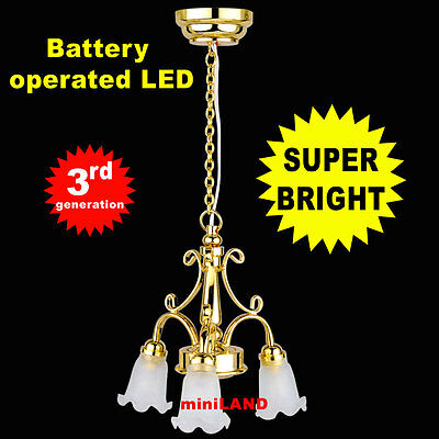 Super Bright battery operated LED LAMP Dollhouse miniature light chandelier 02