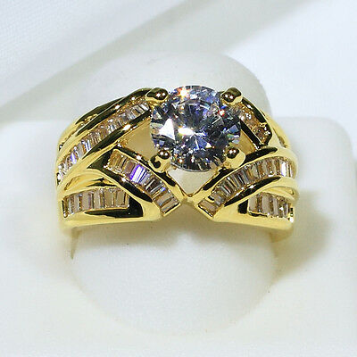 18K Yellow Gold Filled CZ Women Fashion Jewelry Promise Wedding Ring R4502 S5-10