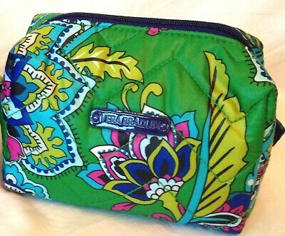 Vera Bradley Small Puffy Cosmetic in Emerald Paisley, Small Cosmetic, PACKAGED