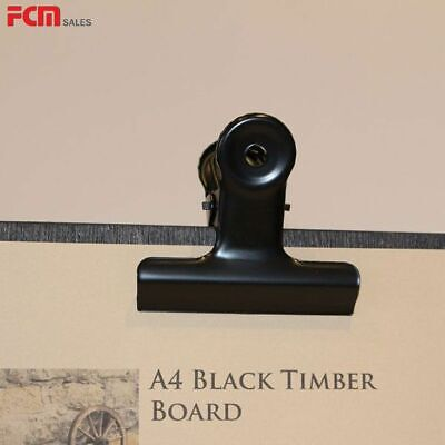 Bulldog clip menu A4 Black Timber Board with Antique Bulldog Clip