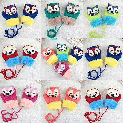 Fashion Baby Kids Boy Girl Cute Cartoon Winter Warm Knitted Flip Gloves Mittens