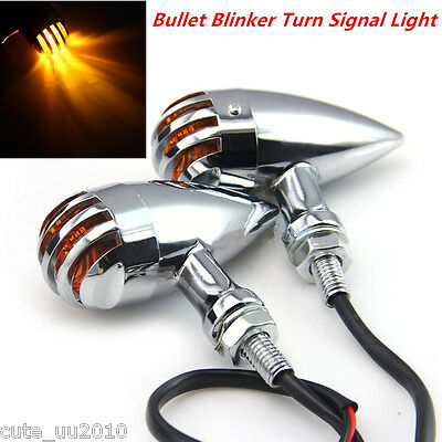 2XChrome/Sliver Motorcycle Turn Signals Light DRL LED Tail Light Chopper Cruiser