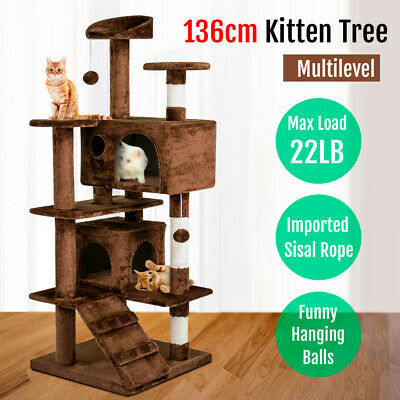 New Cat Scratching Tree Tower Toy Condo Furniture Scratch Post Pet House 136CM
