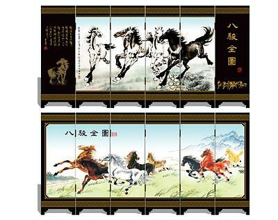 Lacquer six small screen Decoration  Eight horse full map