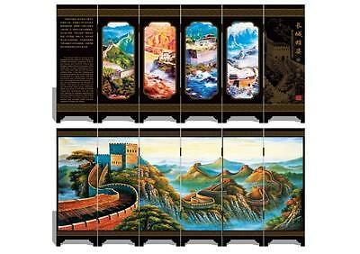 Lacquer six small screen Decoration  Great Wall