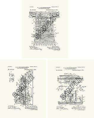 Gem Roller Organ 3 Patent Print Reproductions To Frame
