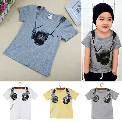 Summer Toddler Kids Baby Boy Short Sleeve T-Shirt Tee Tops Casual Blouse 1-7T