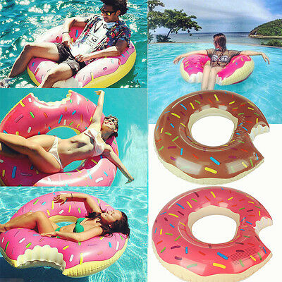 Inflatable Swim Ring Seat Giant Bite Shape Donut Swimming Pool Water Float Raft
