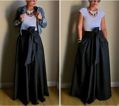 Vintage Women Stretch High Waist Flared Pleated Swing Long Maxi Skirt Dress Gown