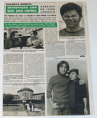JOHN LENNON 2 page 1981 interview with Mark David Chapman beatles Spain clipping
