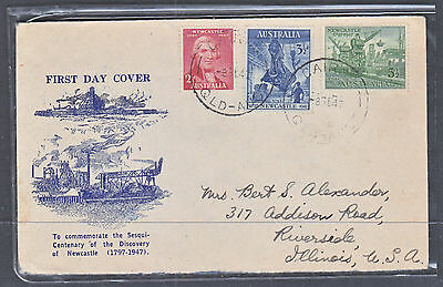 1947 Newcastle Fdc Scarce With This Cachet