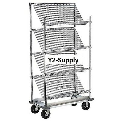 "NEW! Slant Wire Shelving Truck - 4 Shelves With Dolly Base - 48""W x 24""D x 70""H!"