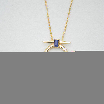 Gold Plated Lapis lazuli hollow out Engrave  Tassels Pendant Necklace XL1287