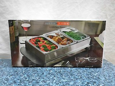 Boxed Scotts Of Stow 19911891 3 x 2.5L Stainless Steel Buffet Food Warmer 300W