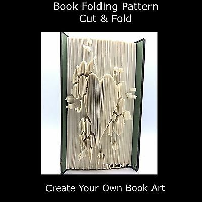 Book Folding Pattern - Cut & Fold -  Flowers and heart