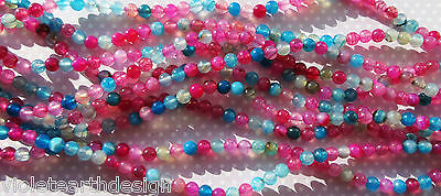 """15"""" Strand Colourful Dyed Agate Round Spacer Beads Pink Blue Mix 6mm"""