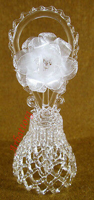 Beautiful Russian crystal glass bell Flower Exquisite sound Handmade #20-2