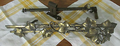 Antique Curtain Rod Swing Arm Adjustable Leaf Pattern Needs Repair