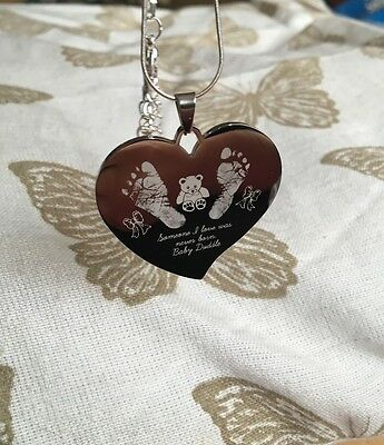 Personalised Foot/hand Print Engraved Memory Pendent- Baby Loss