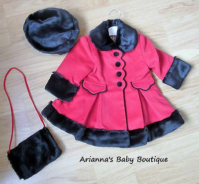 NEW Girls Traditonal Red Victorianna Coat, hat and hand warmer 12 month - 5 year