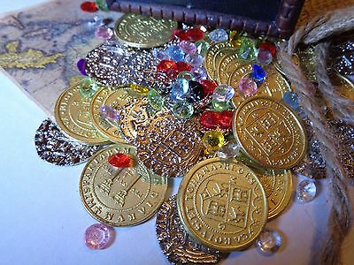 Caribbean Pirate Treasure Assortment Chest Including 30 Metal Coins and More!