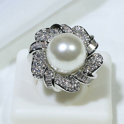 18K White Gold Filled AAA CZ & Pearl Women Fashion Jewelry Ring R6189 Size 5-10