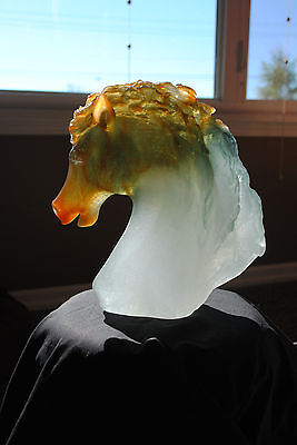 Daum French Crystal Amber And Grey  Andalusian Horse's Head Tete De Cheval 08023