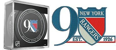 New York Rangers Puck & Patch 90Th Anniversary Hockey Club Stanley Cup Champions