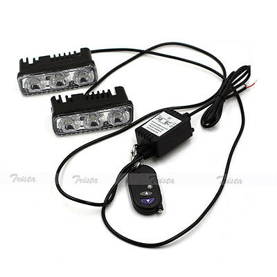 2x3 LED White Car DRL Daytime Running Light Remote Control Strobe Flash Warn 12V
