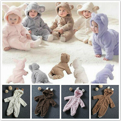 Newborn Infant Baby Romper Hooded Jumpsuit Boys Girls Bodysuit Clothes Outfit
