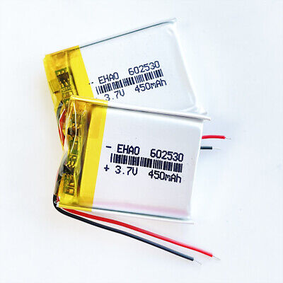2 pcs 3.7V 450mAh 602530 Lipo Rechargeable Battery For MP3 MID DVD GPS bluetooth