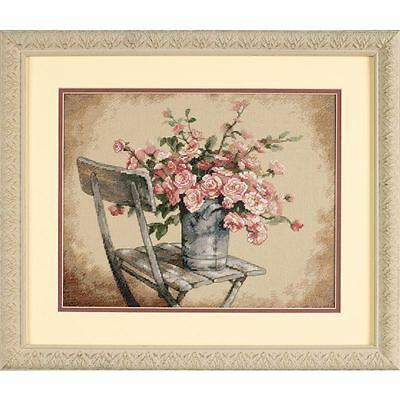 Dimensions Roses on White Chair Cross Stitch Kit Embroidery Sewing Craft