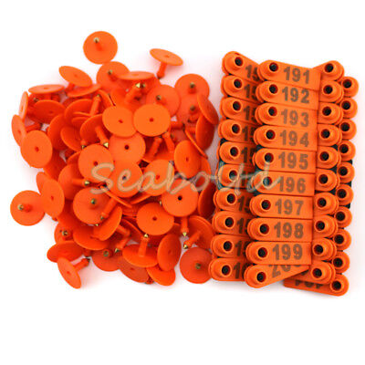 Orange 101-200 Number Plastic Livestock Ear Tag For Goat Sheep Pig Pack Of 100