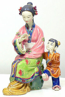 Chinese Ceramic Lady Figurine Porcelain Dolls Oriental Mother Child Teaching