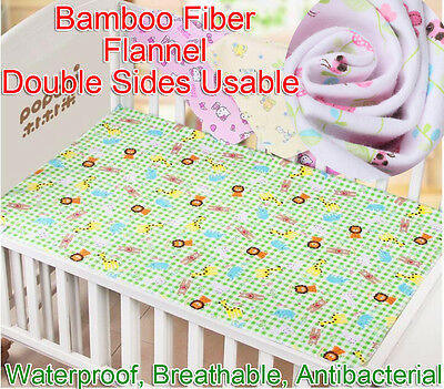 80x70cm Baby Bamboo Fiber Flannel Changing Mat Antibacterial Infant Urine Pad