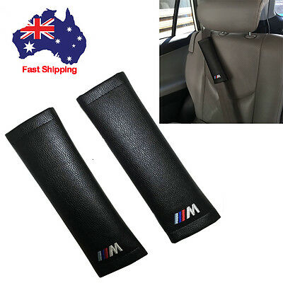 Pair Genuine Leather Car Truck Seat Belt Shoulder Pads Cover Cushion Fit For BMW