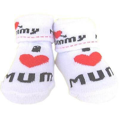 Premature Baby Boys I Love Mum Dad Novelty Fancy Socks Booties 3.5lb - 7.5lb
