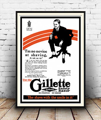 Gillette safety razor : old Magazine advert, Reproduction poster, Wall art.